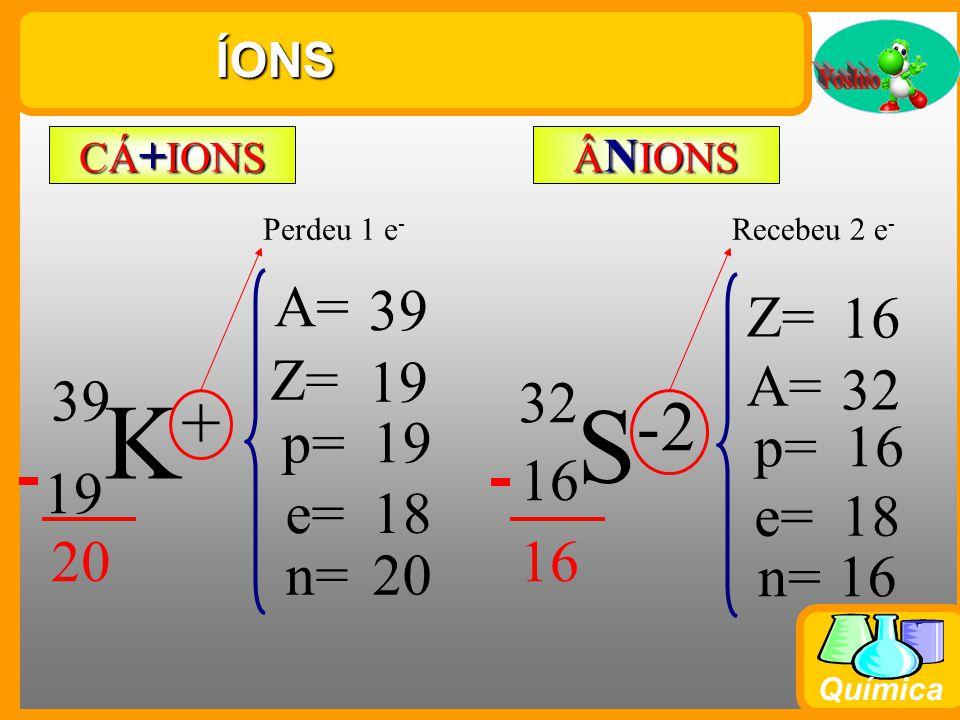 K+ S-2 A= 39 Z= 16 Z= 19 A= 32 39 32 p= 19 p= 16 16 19 e= 18 e= 18 20