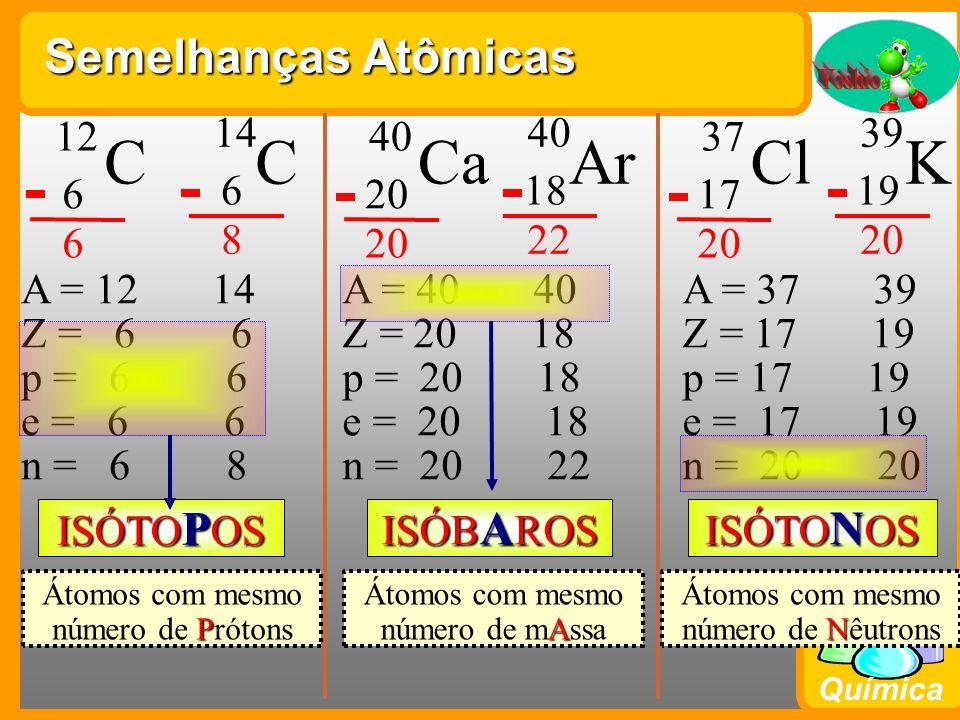 C C Ca Ar Cl K Semelhanças Atômicas 12 14 40 40 37 39 6 6 20 18 17 19