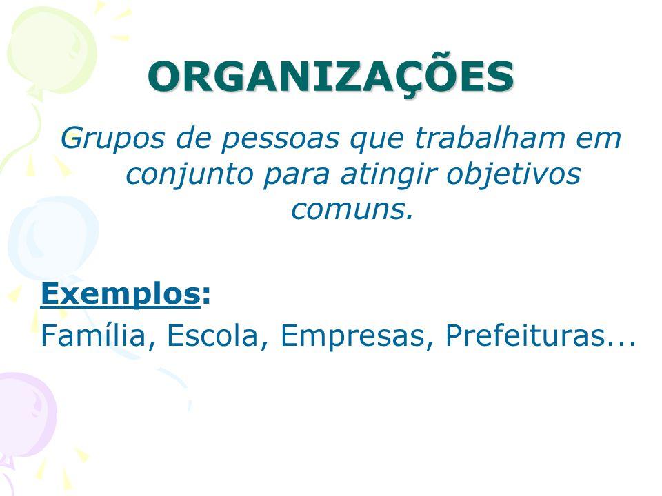 ORGANIZAÇÕES Grupos de pessoas que trabalham em conjunto para atingir objetivos comuns.
