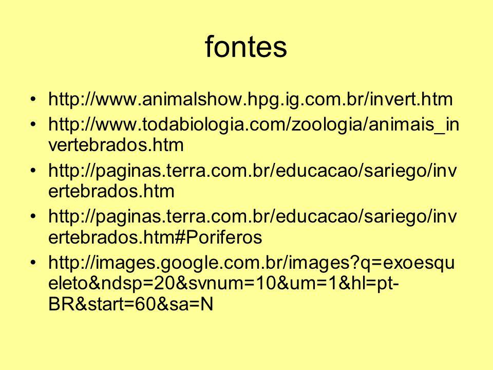 fontes http://www.animalshow.hpg.ig.com.br/invert.htm