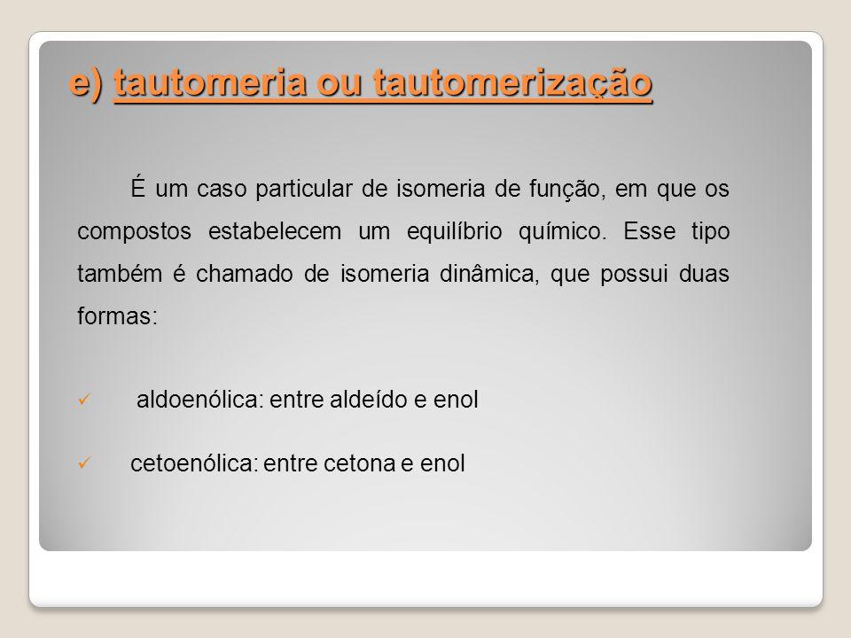 e) tautomeria ou tautomerização