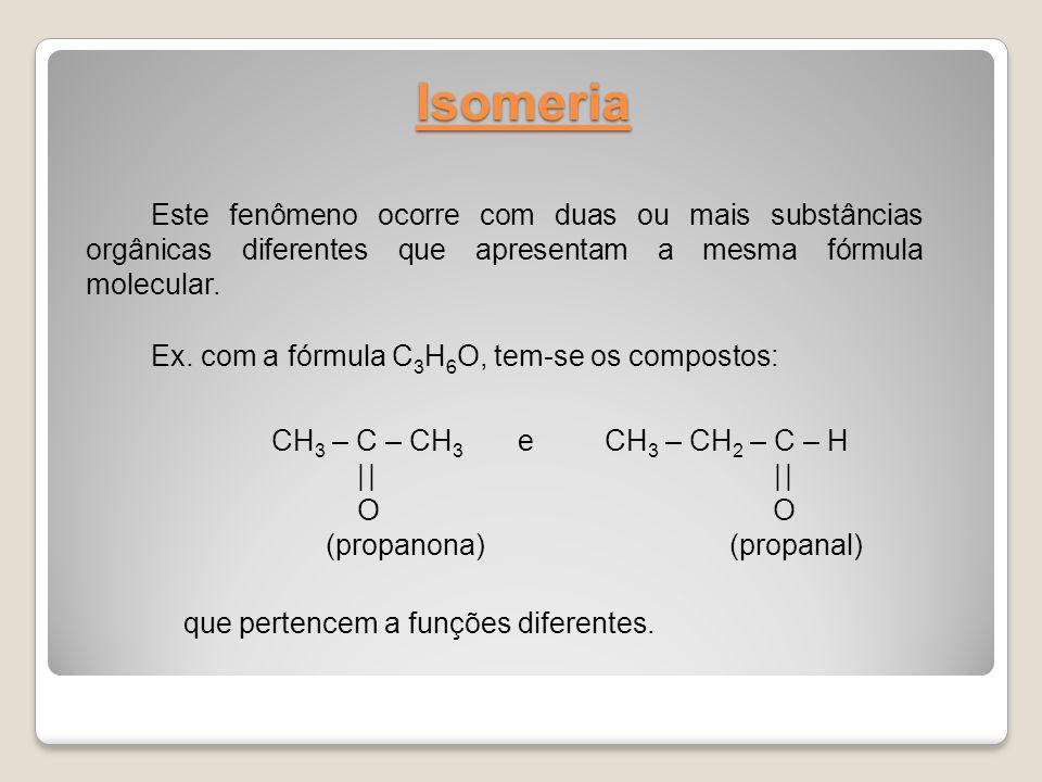Isomeria Este fenômeno ocorre com duas ou mais substâncias orgânicas diferentes que apresentam a mesma fórmula molecular.