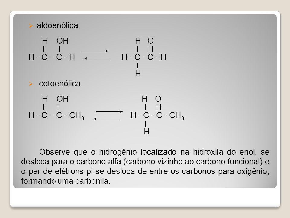 aldoenólica H OH H O H - C = C - H H - C - C - H H cetoenólica