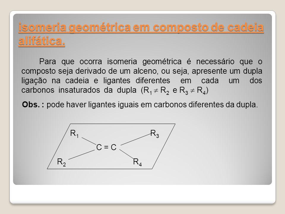 isomeria geométrica em composto de cadeia alifática.