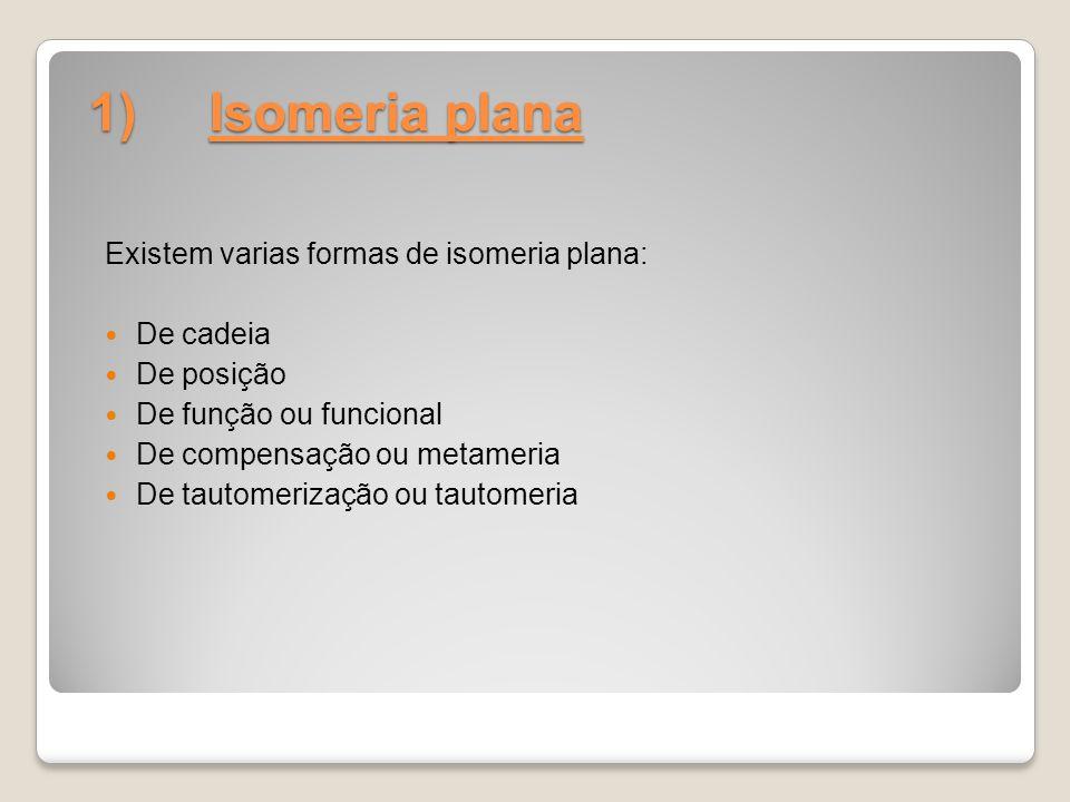 1) Isomeria plana Existem varias formas de isomeria plana: De cadeia