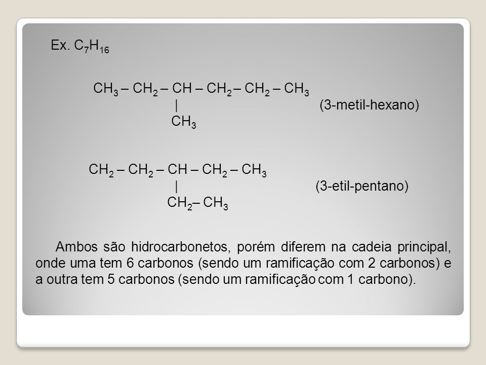 Ex. C7H16 CH3 – CH2 – CH – CH2 – CH2 – CH3 | (3-metil-hexano) CH3 CH2 – CH2 – CH – CH2 – CH3 | (3-etil-pentano) CH2– CH3