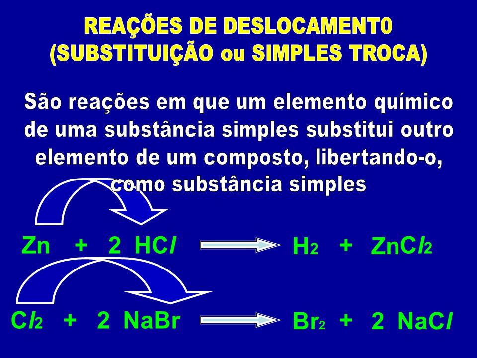 Zn + 2 HCl H2 + Zn Cl2 Cl2 + 2 NaBr Br2 + 2 NaCl
