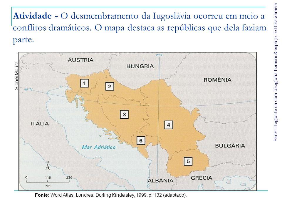 Atividade - O desmembramento da Iugoslávia ocorreu em meio a conflitos dramáticos. O mapa destaca as repúblicas que dela faziam parte.