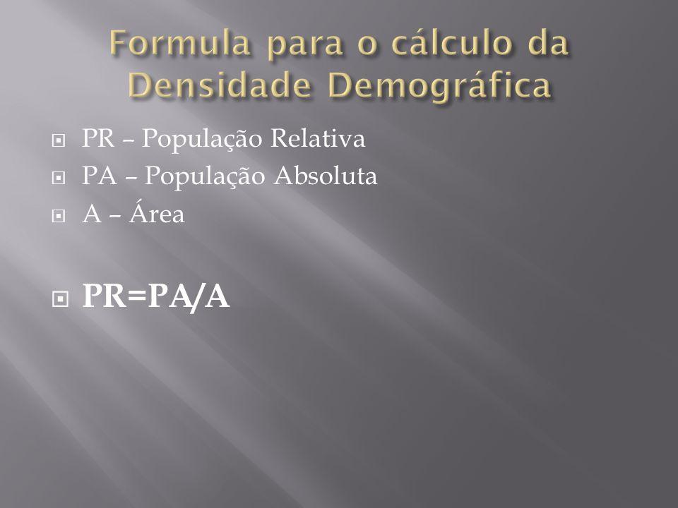 Formula para o cálculo da Densidade Demográfica