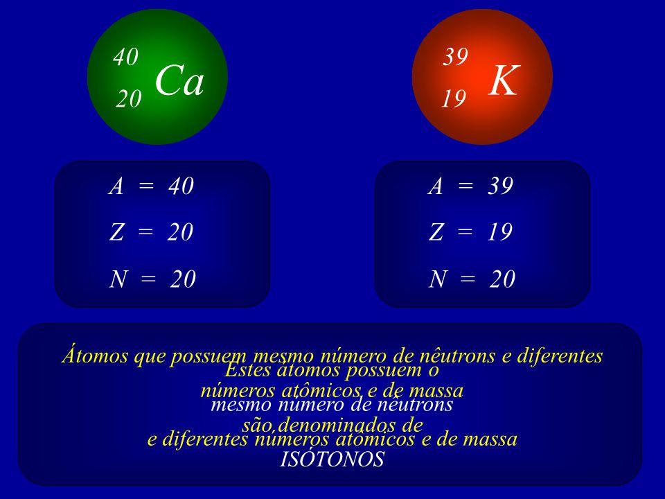 40 39. Ca. K. 20. 19. A = 40. A = 39. Z = 20. Z = 19. N = 20. N = 20.