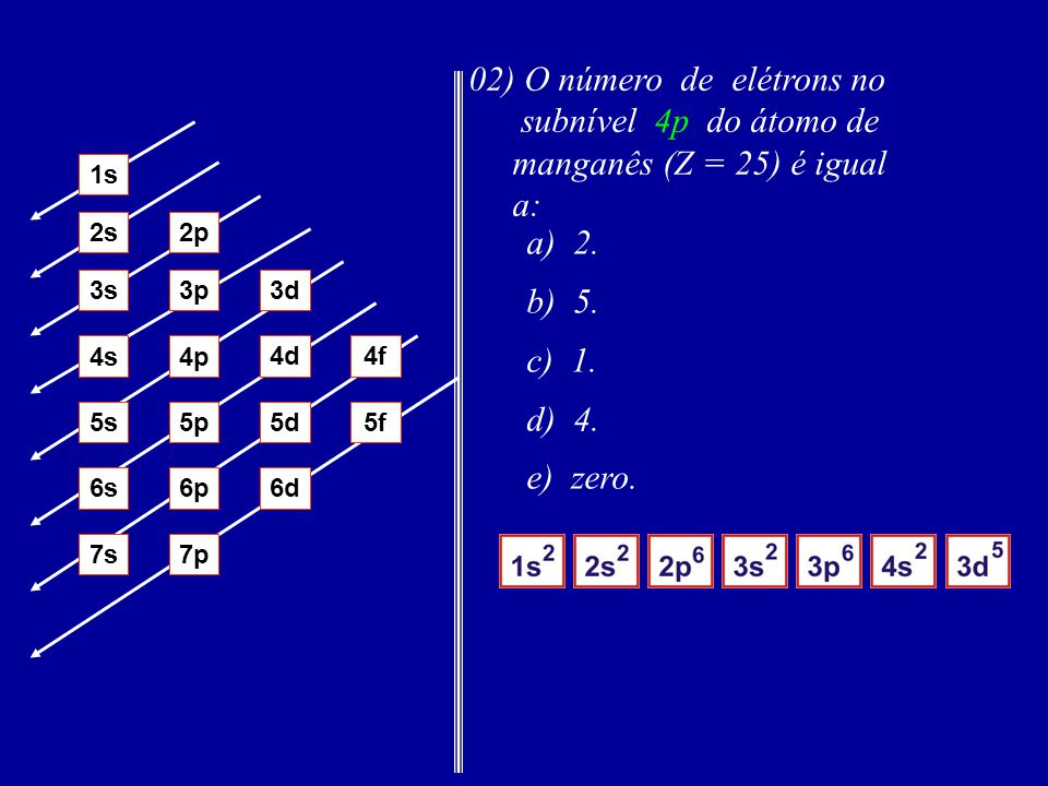 02) O número de elétrons no subnível 4p do átomo de