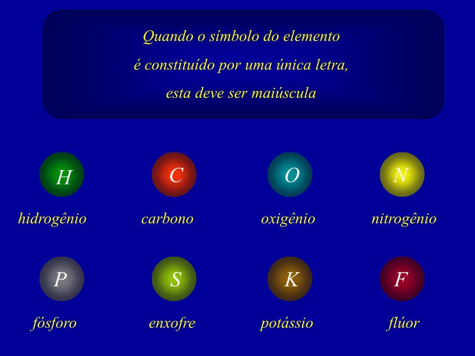 H C O N P S K F Quando o símbolo do elemento