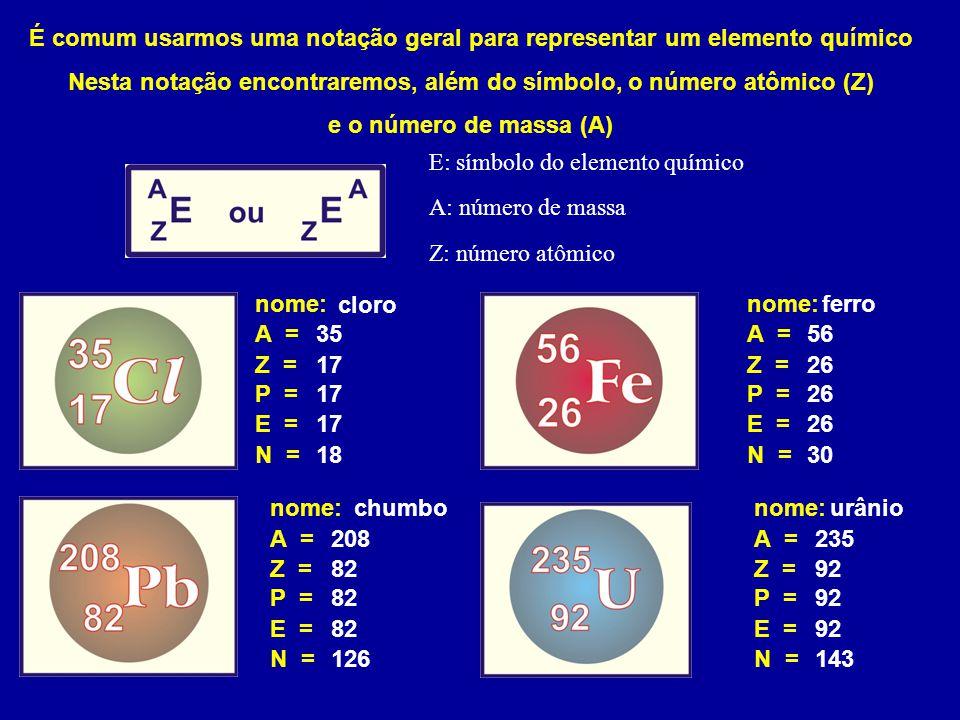 É comum usarmos uma notação geral para representar um elemento químico Nesta notação encontraremos, além do símbolo, o número atômico (Z)
