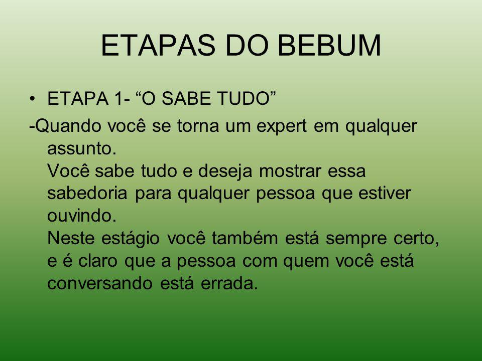 ETAPAS DO BEBUM ETAPA 1- O SABE TUDO