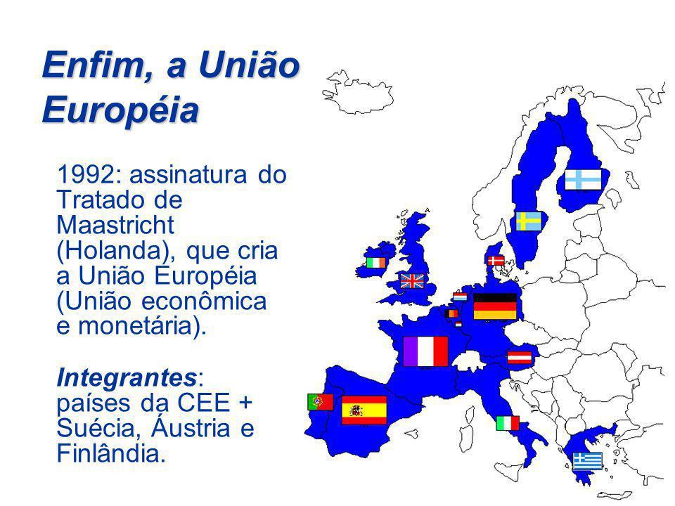 Enfim, a União Européia 1992: assinatura do Tratado de Maastricht (Holanda), que cria a União Européia (União econômica e monetária).