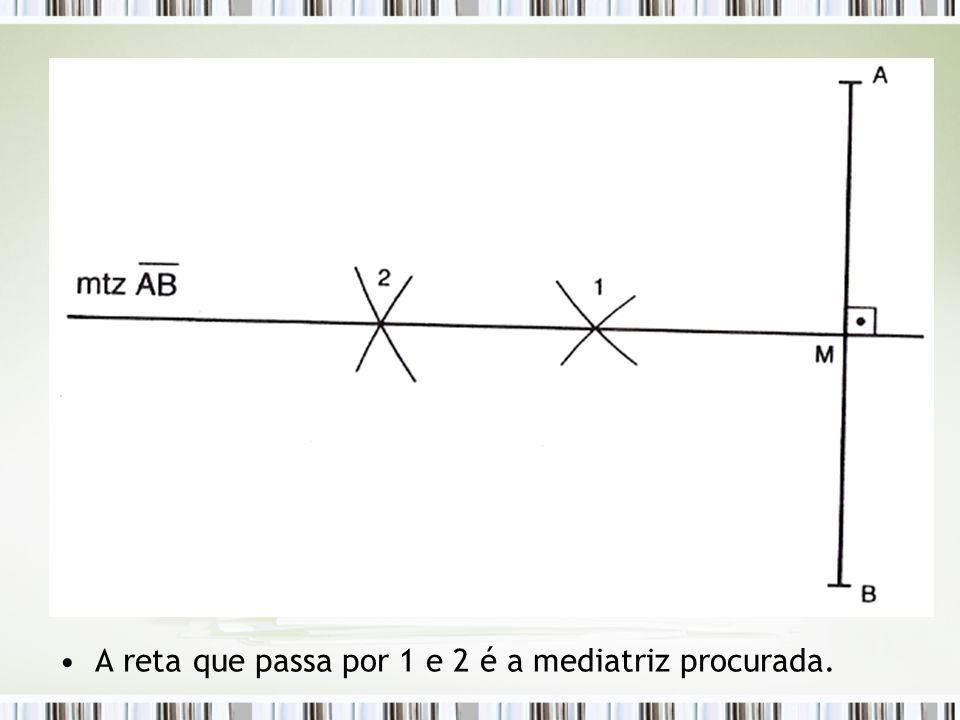 A reta que passa por 1 e 2 é a mediatriz procurada.