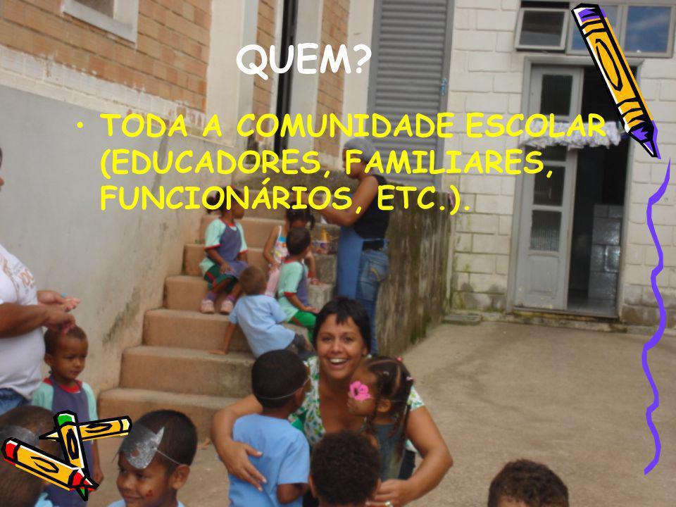 QUEM TODA A COMUNIDADE ESCOLAR (EDUCADORES, FAMILIARES, FUNCIONÁRIOS, ETC.).