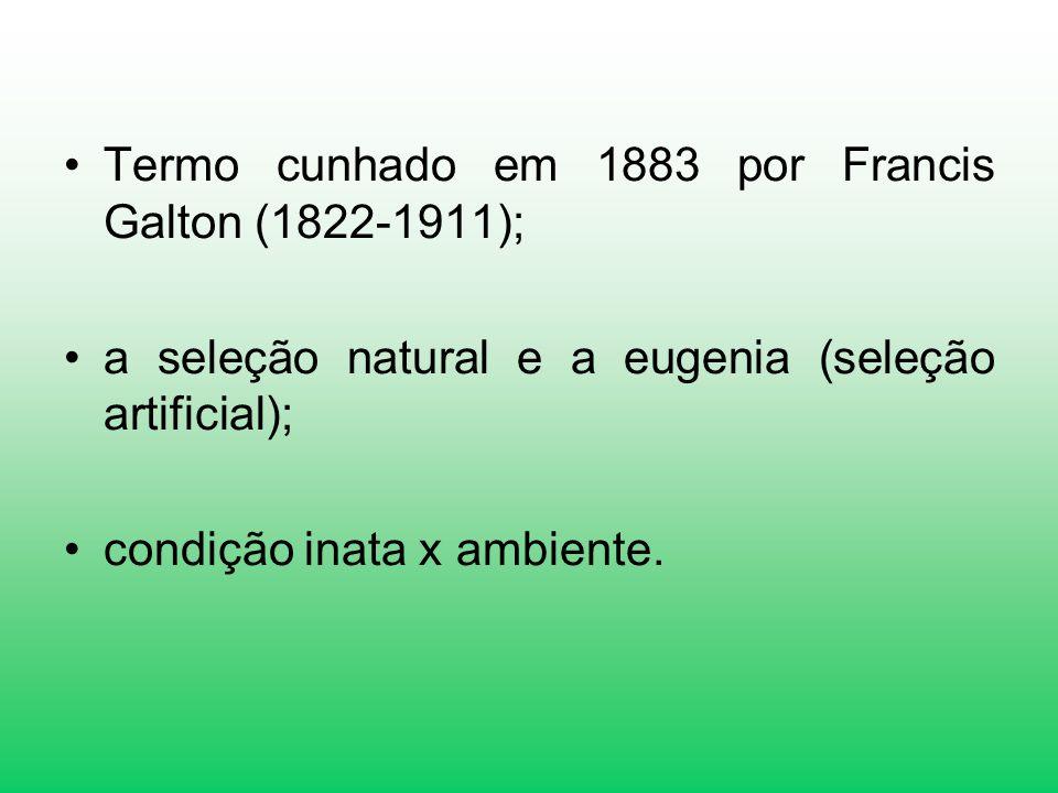 Termo cunhado em 1883 por Francis Galton (1822-1911);
