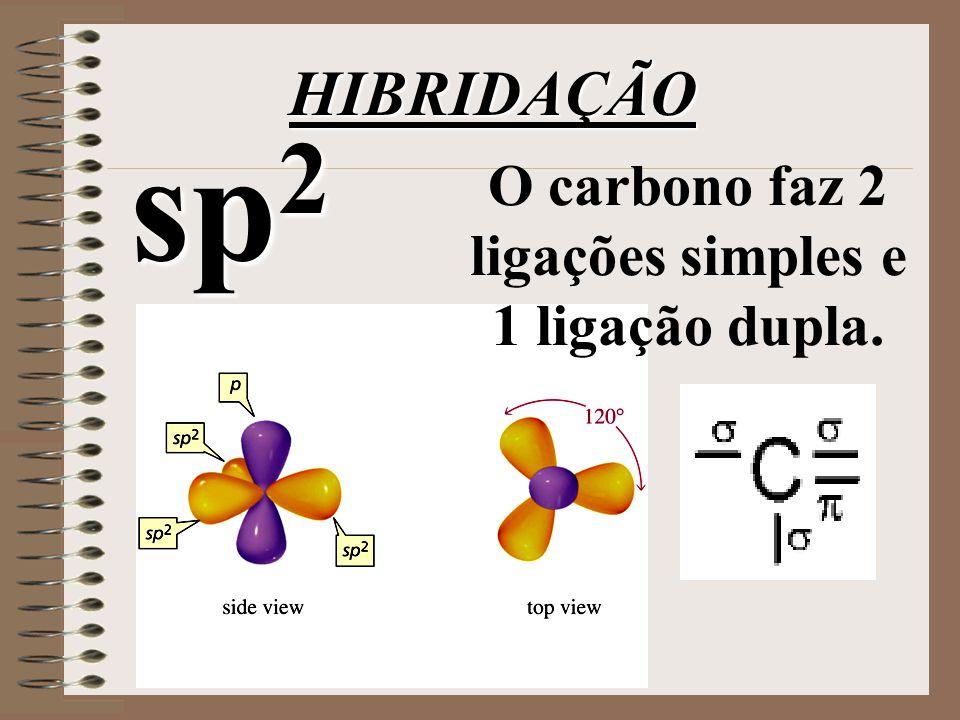 O carbono faz 2 ligações simples e 1 ligação dupla.
