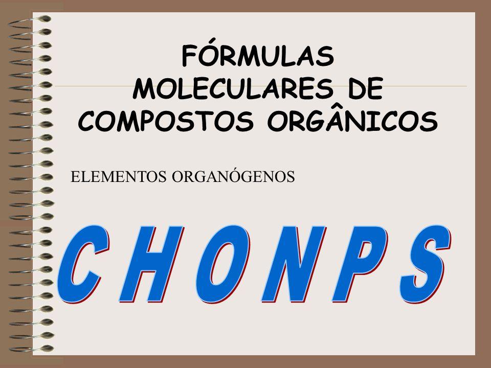 FÓRMULAS MOLECULARES DE COMPOSTOS ORGÂNICOS