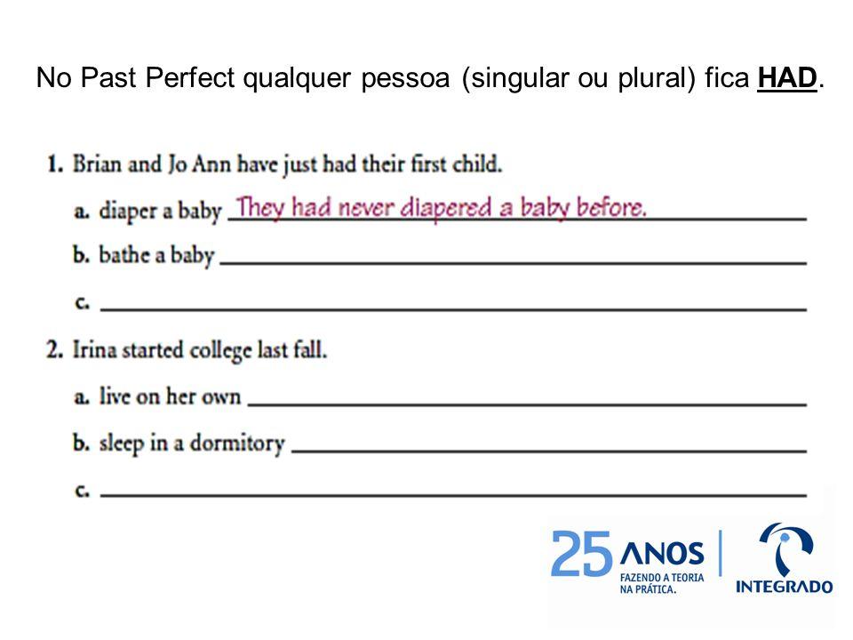 No Past Perfect qualquer pessoa (singular ou plural) fica HAD.