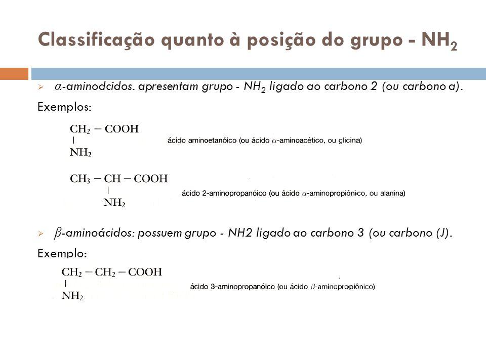 Classificação quanto à posição do grupo - NH2