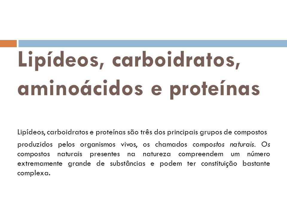 Lipídeos, carboidratos, aminoácidos e proteínas