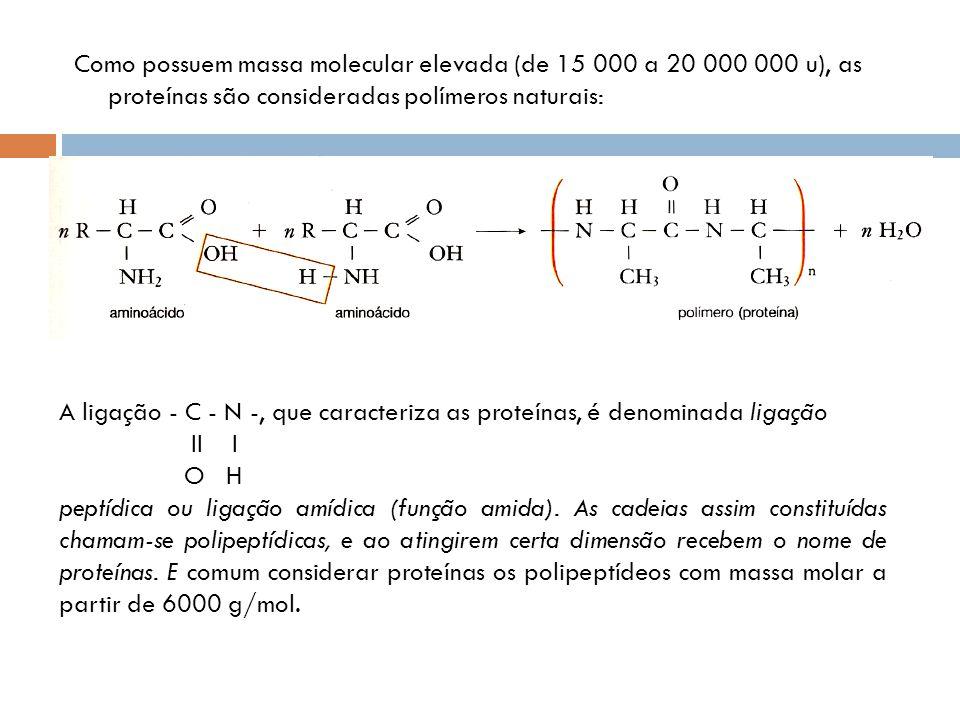 Como possuem massa molecular elevada (de 15 000 a 20 000 000 u), as proteínas são consideradas polímeros naturais: