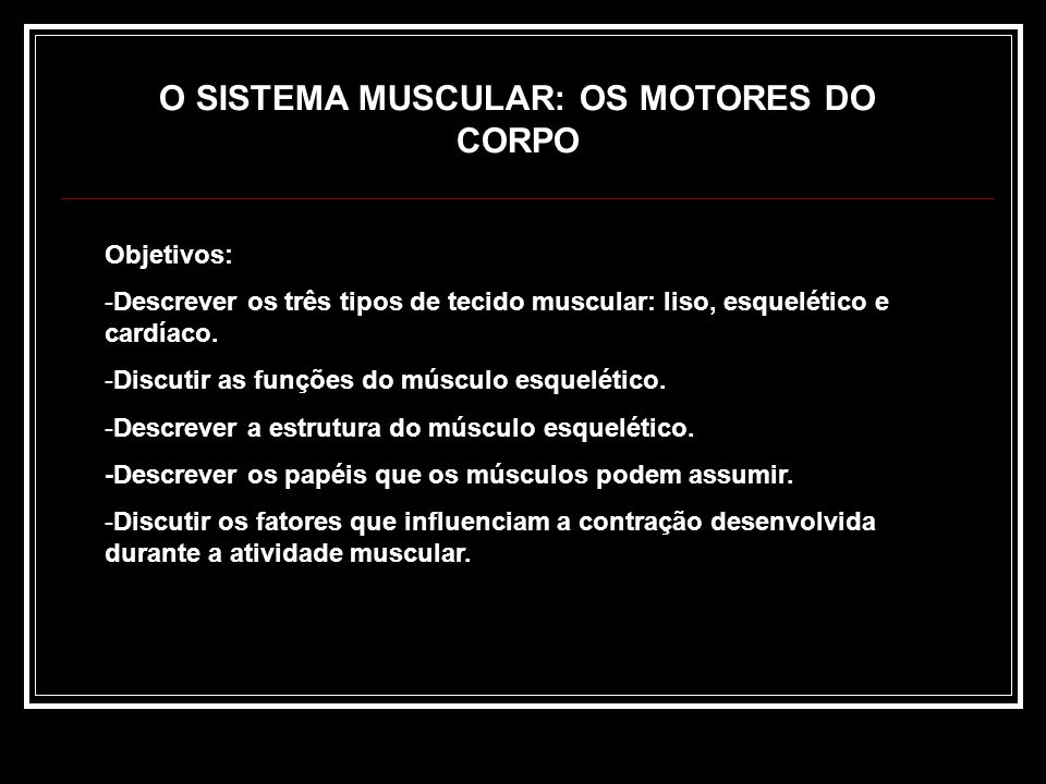 O SISTEMA MUSCULAR: OS MOTORES DO CORPO