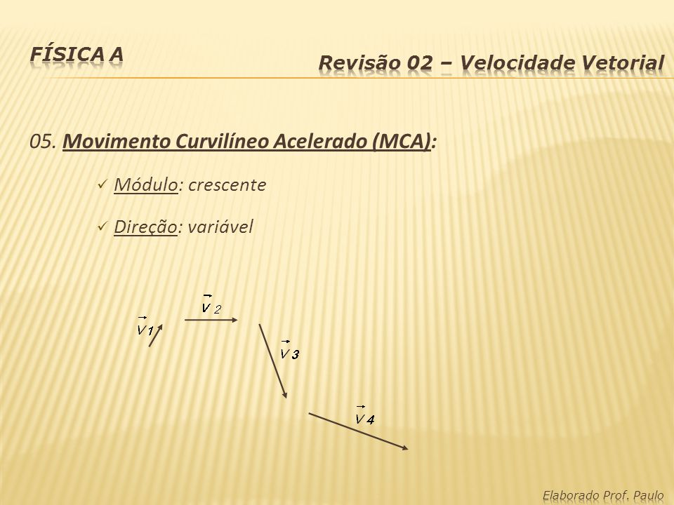 05. Movimento Curvilíneo Acelerado (MCA):