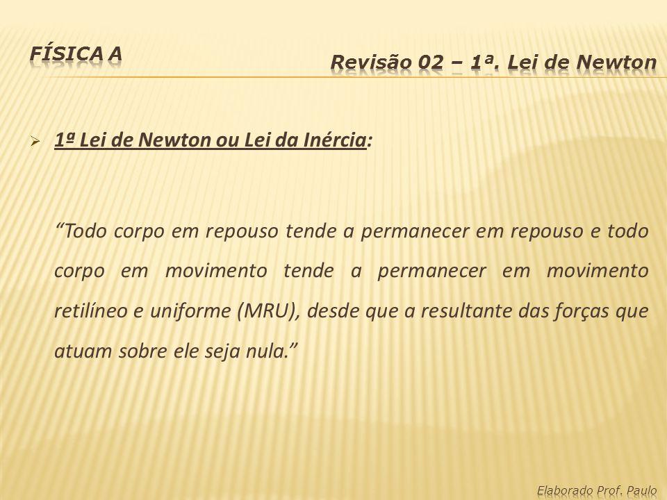 1ª Lei de Newton ou Lei da Inércia: