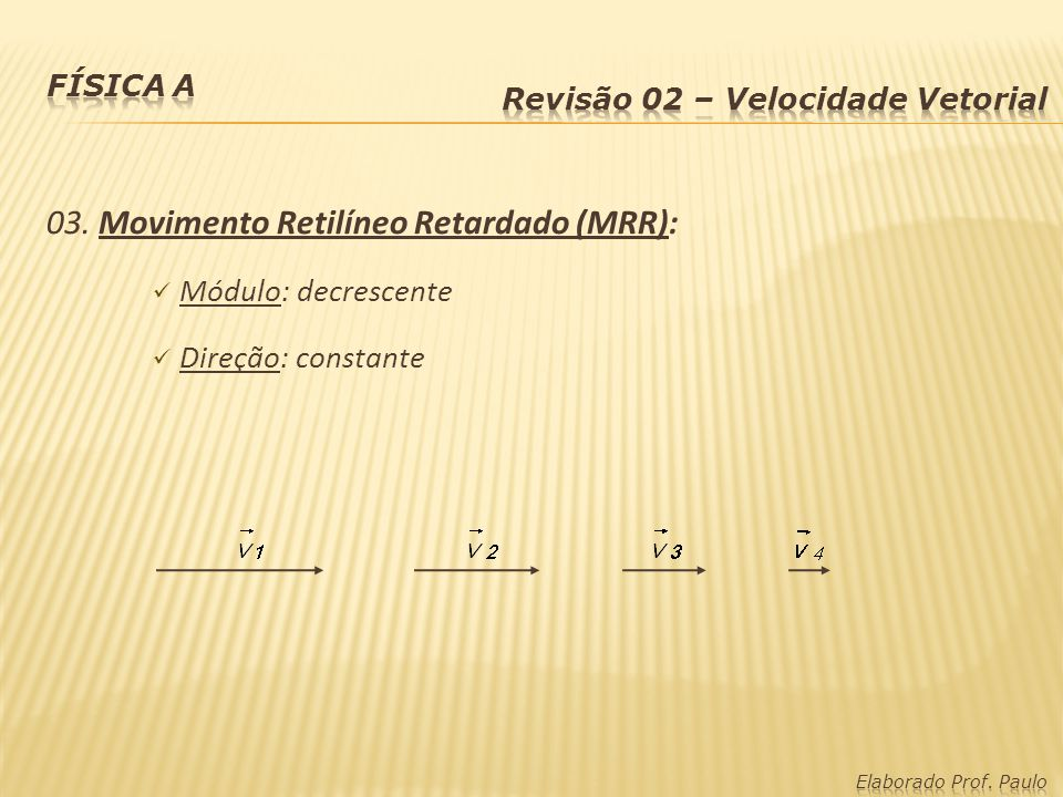 03. Movimento Retilíneo Retardado (MRR):
