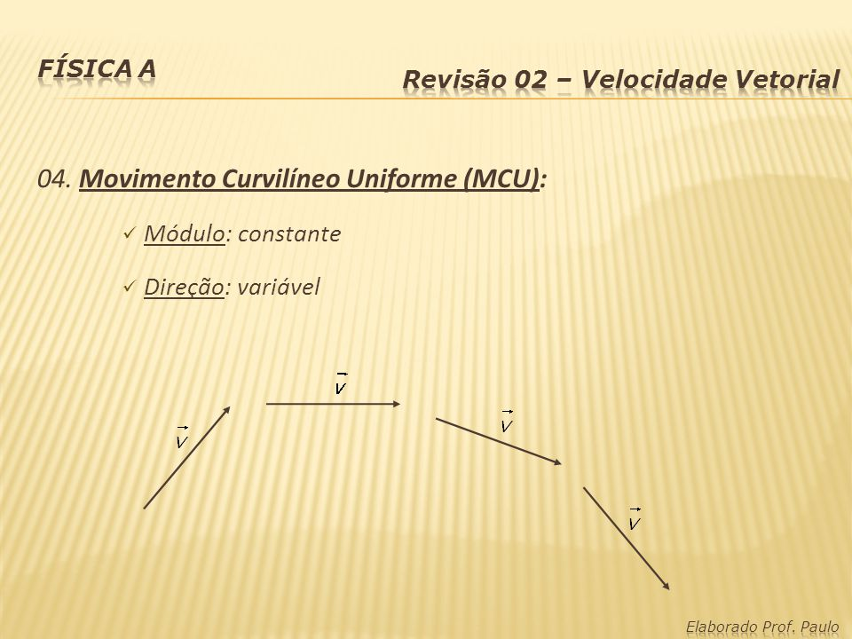 04. Movimento Curvilíneo Uniforme (MCU):