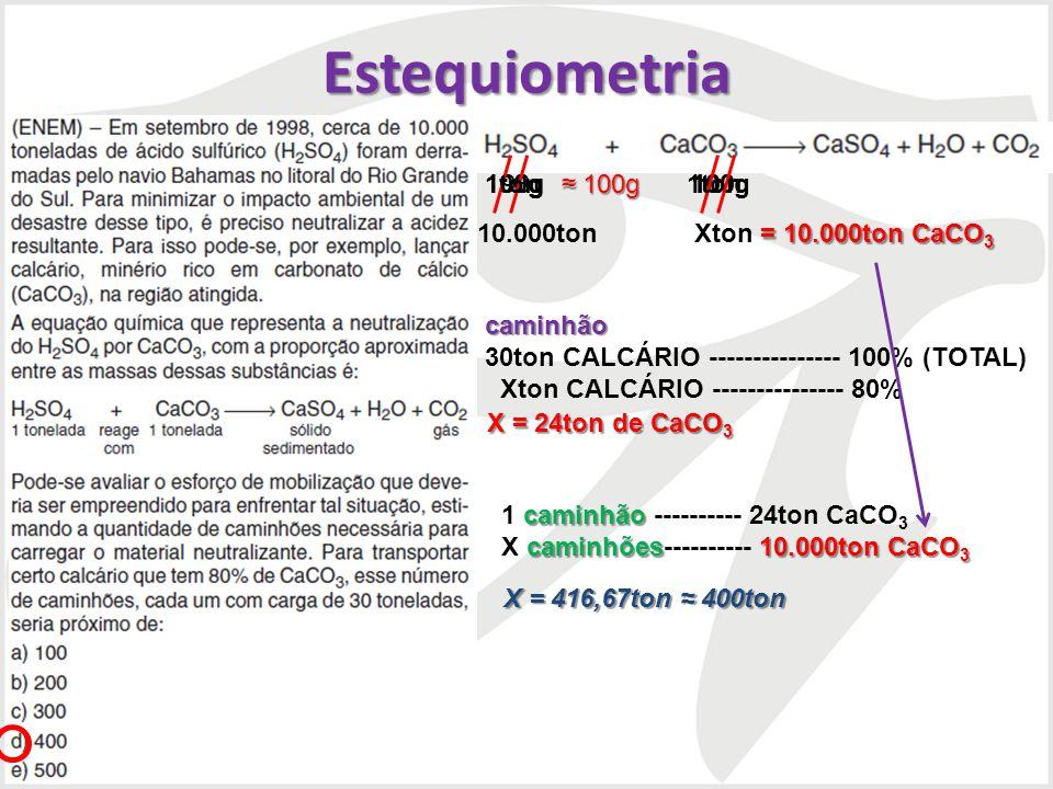 Estequiometria 1ton 1ton 100g 100g 98g 100g ≈ 100g 10.000ton Xton