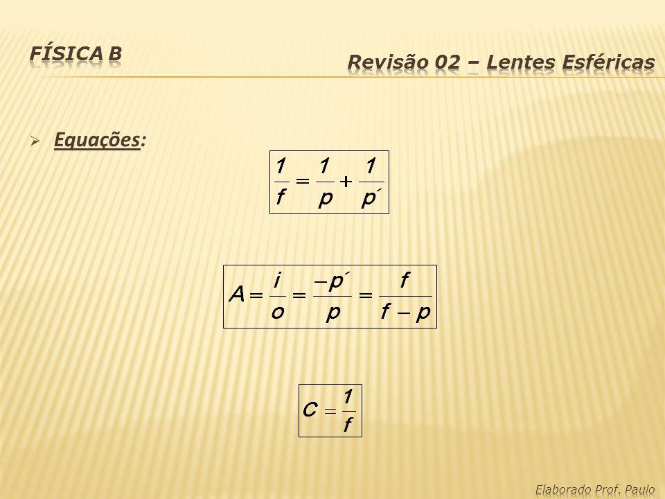 Física B Revisão 02 – Lentes Esféricas Equações: Elaborado Prof. Paulo