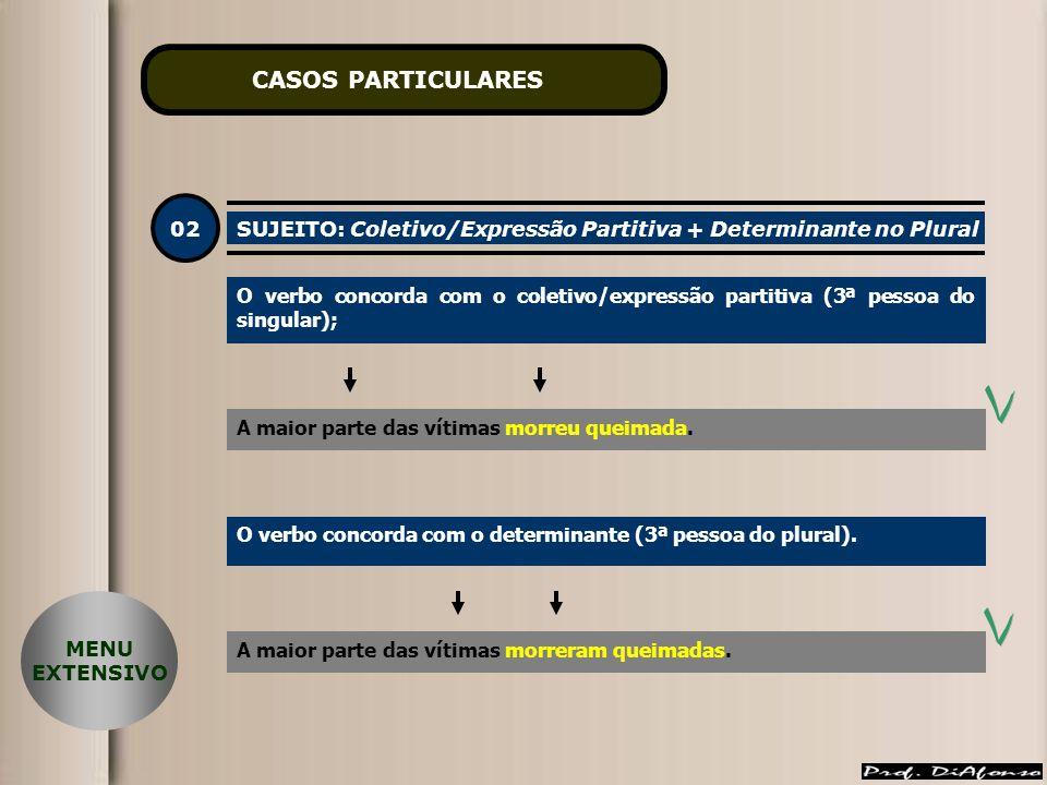 CASOS PARTICULARES 02. SUJEITO: Coletivo/Expressão Partitiva + Determinante no Plural.