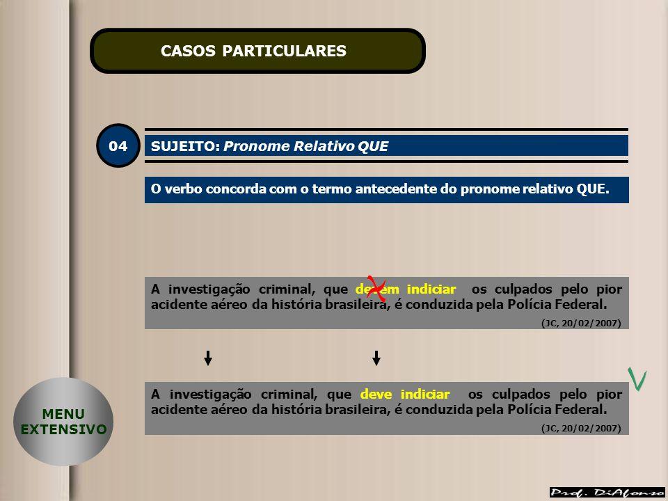 CASOS PARTICULARES 04 SUJEITO: Pronome Relativo QUE