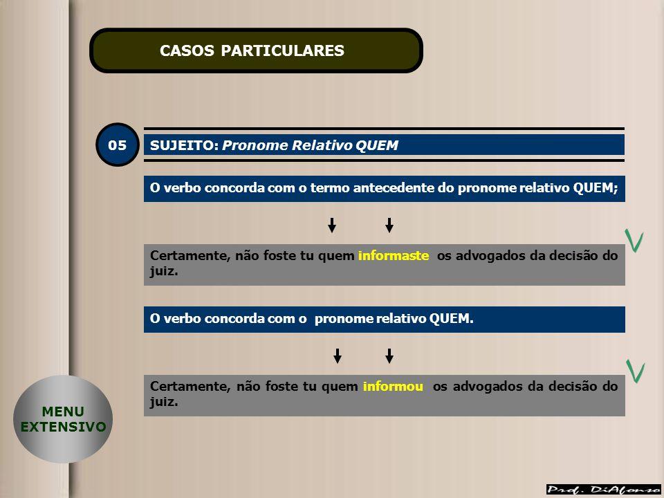 CASOS PARTICULARES 05 SUJEITO: Pronome Relativo QUEM
