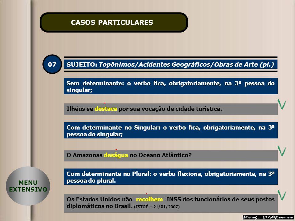 CASOS PARTICULARES 07. SUJEITO: Topônimos/Acidentes Geográficos/Obras de Arte (pl.)