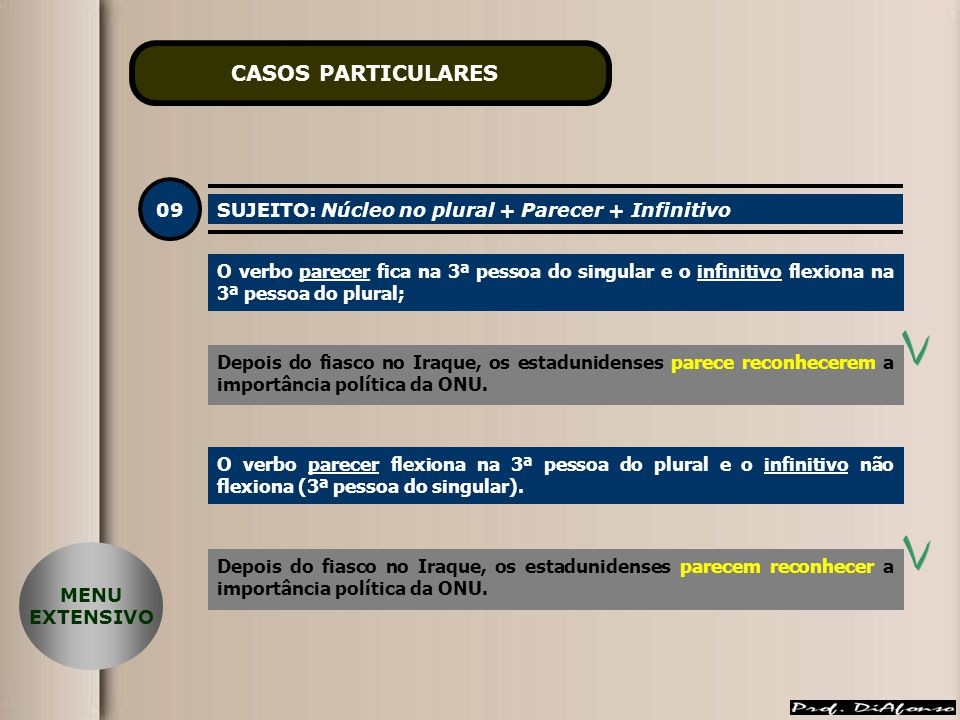CASOS PARTICULARES 09 SUJEITO: Núcleo no plural + Parecer + Infinitivo