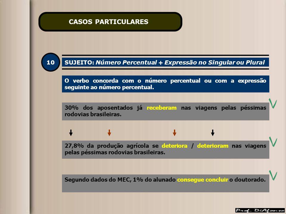 CASOS PARTICULARES 10. SUJEITO: Número Percentual + Expressão no Singular ou Plural.