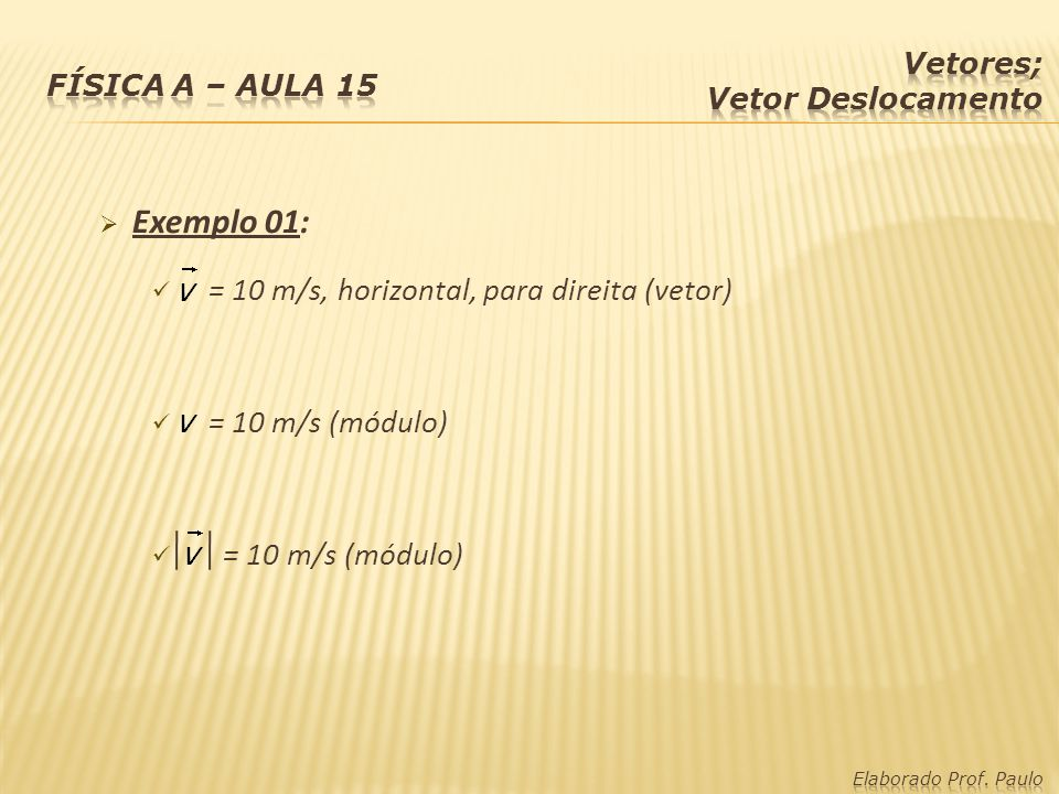 Exemplo 01: = 10 m/s, horizontal, para direita (vetor)