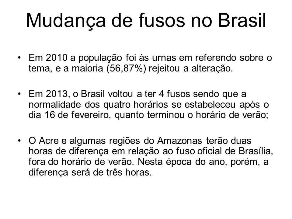 Mudança de fusos no Brasil