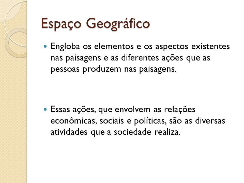 Espaço Geográfico Engloba os elementos e os aspectos existentes nas paisagens e as diferentes ações que as pessoas produzem nas paisagens.