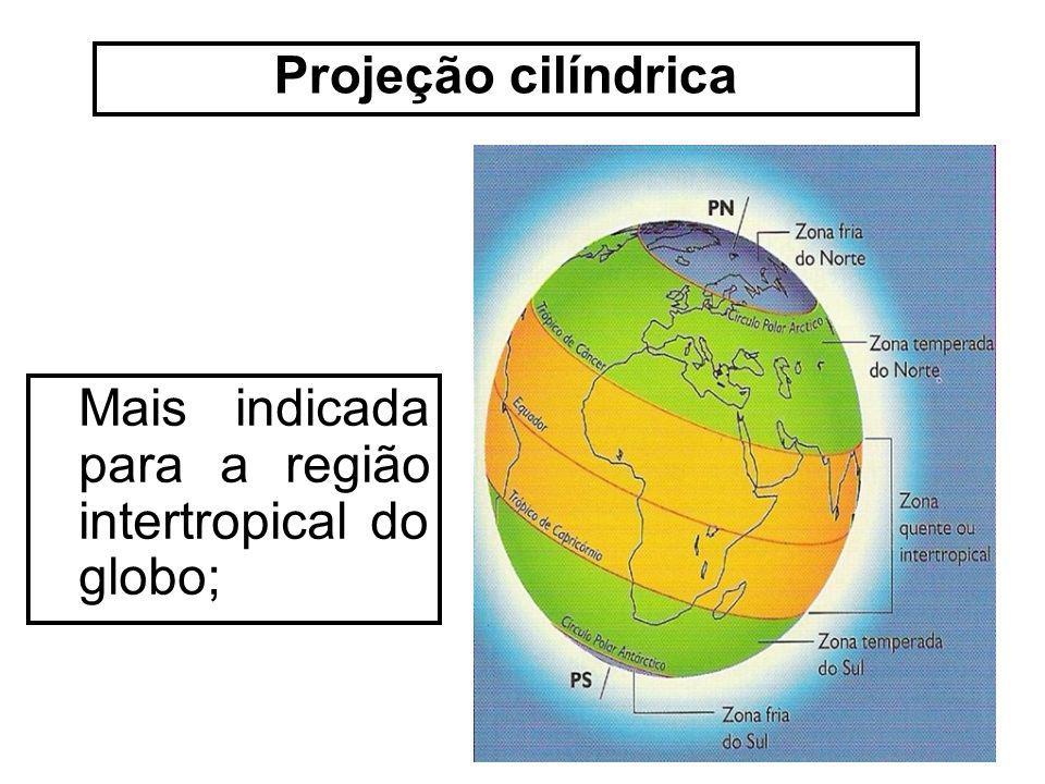 Projeção cilíndrica Mais indicada para a região intertropical do globo;