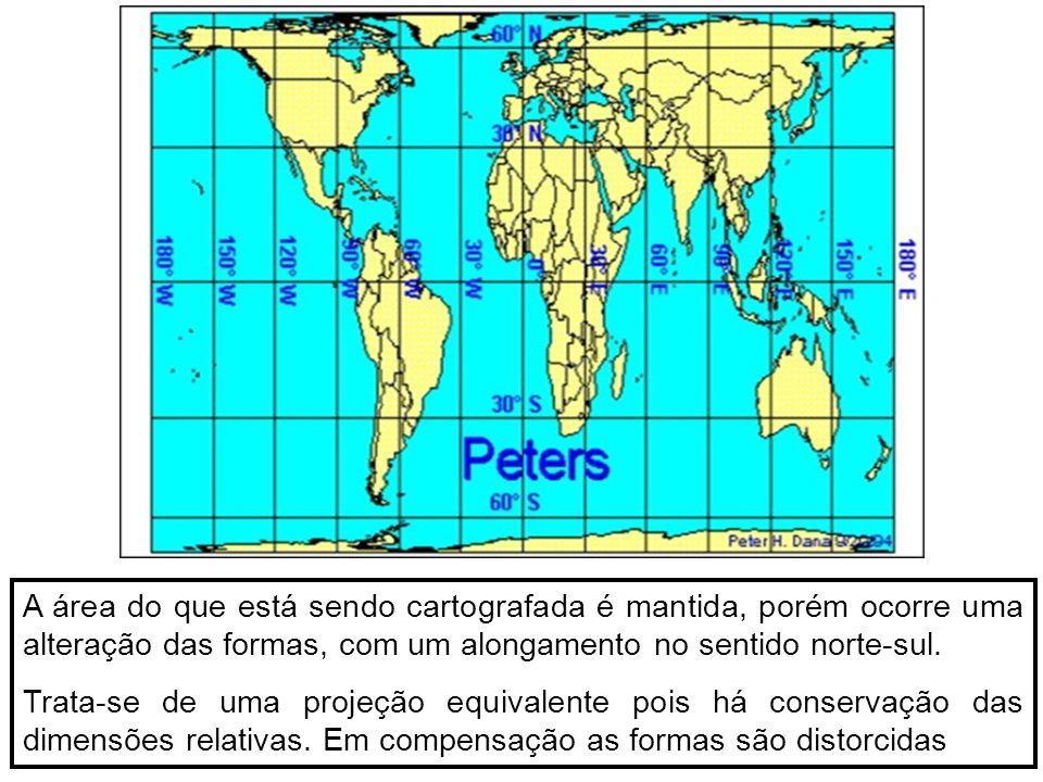 A área do que está sendo cartografada é mantida, porém ocorre uma alteração das formas, com um alongamento no sentido norte-sul.