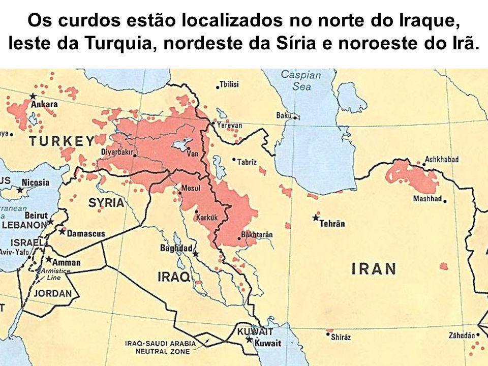 Os curdos estão localizados no norte do Iraque,