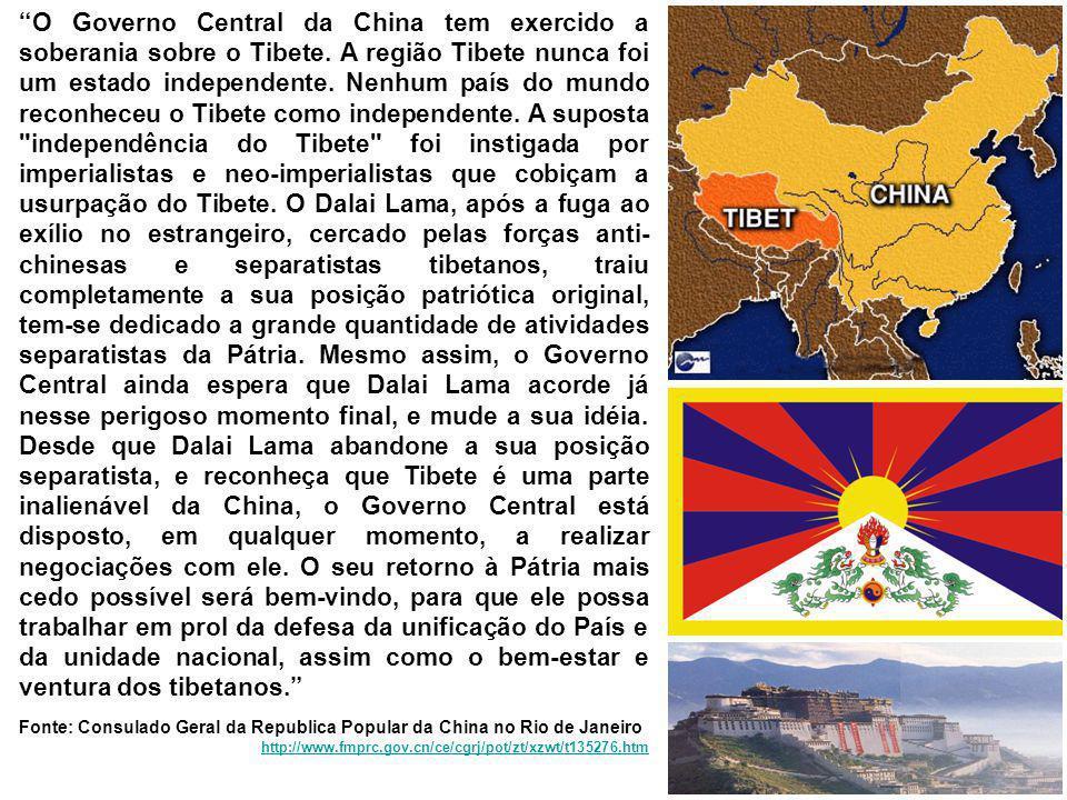 O Governo Central da China tem exercido a soberania sobre o Tibete