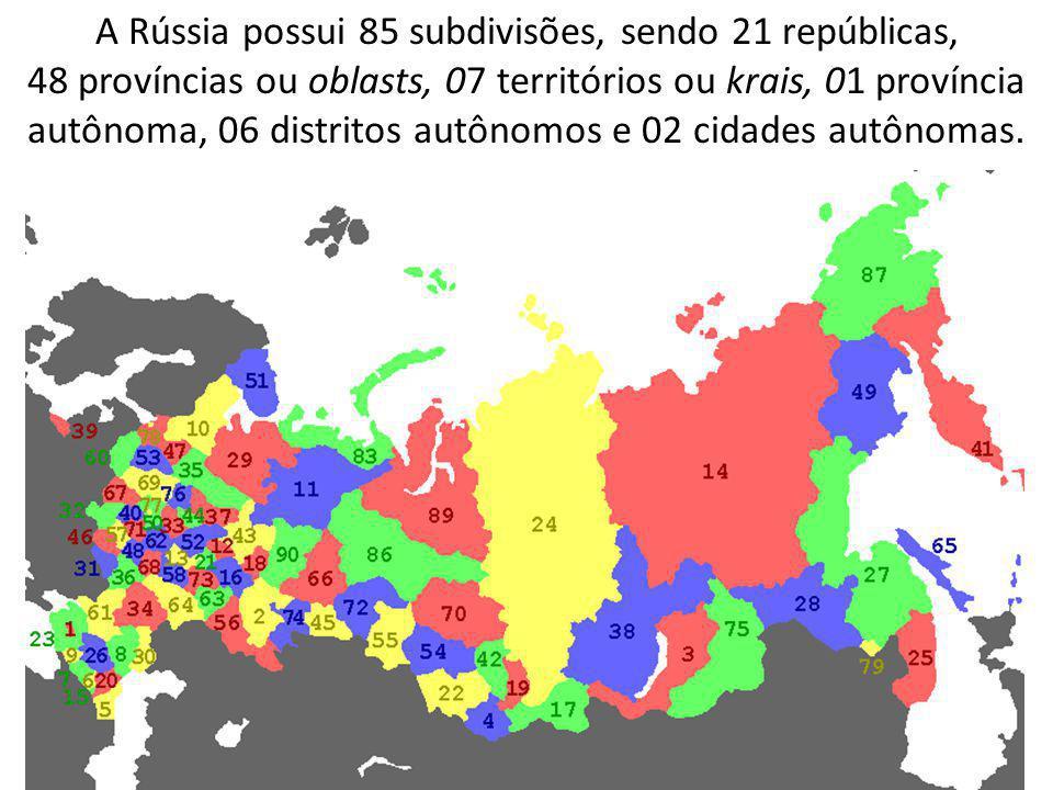 A Rússia possui 85 subdivisões, sendo 21 repúblicas,