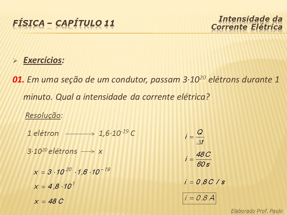 Física – capítulo 11 Intensidade da Corrente Elétrica. Exercícios:
